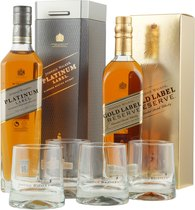 Johnnie Walker Set with Gold Label Reserve, Platinum Reserve and 4 Tumbler Glasses