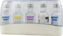 Absolut+Five+Mini+Set+ - Absolut Five Set (also famous as Absolut Mini) with each bottle 50 ml. Inside the package is a bottle Absolut Citron, Absolut Kurant, Absolut Vanilla and 2 x Absolut Blue with 40 % volume each.  The A...