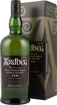 Ardbeg+Ten+Whisky+10+Jahre+1+Liter - Ardbeg Ten Whisky 10 years with 1 liter and 46 % volume. A well peated Single Malt Whisky from Islay in the big bottle.   Ardbeg Ten Years Old is a very special bottling for the Ardbeg distillery as i...