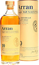 Arran+Whisky+10+Jahre+700+ml. - Arran 10 years with 700 ml. and 46 % volume in a present box.   The first 10 years old Arran because distillery opened 1995. Non chill filtered. With a golden colour.   Nose: Yeast and dough, hints of...