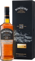 Bowmore 25 years - Bowmore 25 Years. 70 cl. and 43 % vol.  The new 25 year old. A venerable whisky of utmost quality.