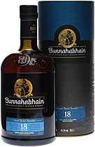 Bunnahabhain 18 years - Bunnahabhain 18 years with 700 ml. and 43 % volumen.   Bunnahabhain is a Islay Single Malt and for this age really cheap. Very good balanced whisky, the palate is influenced by mellow sherried nuts an...