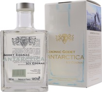 Godet+Antarctica+Cognac+weiss - Cognac Godet Antarctica with 500 ml. and 40 % volume.  This cognac matured for 7 years in oak barrels and got a natural filtration to get this colour. Its nearly without any colour. Pressed from the F...