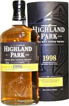 Highland+Park+1998+1+Liter - Highland Park 1998 with 1 Liter and 40 % Vol. for the global travel retail. Distilled in 1998 and bottled 2010. This Highland Park 1998 has a sweet smokey finish.