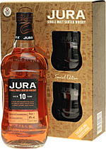 Isle+of+Jura+10+Jahre+Geschenkset+mit+2+Tumblergl%E4sern - Isle of Jura 10 Years 700 ml. content and 40 % volume.   The Isle of Jura 10 years is a mild and easy-going malt whisky, which is very salty. This Isle of Jura is packed in a Giftbox with two Whisky T...