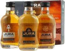 Isle of Jura Miniature Set Origin 10 years, Superstition and Diurachs Own 16 years - Isle of Jura - The Collection Miniature Set  Neither about the Isle of Jura nor about its Distillery one has to lose many words. The rough Scotch from the Coast is peaty and genius. In every swig you ...