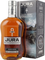 Isle+of+Jura+Superstition+%2F+Gold+Medal+Gewinner+2009 - Isle of Jura Superstition with 700 ml. and 45 % volume.  Jura is an island wrapped in Superstition with a litany of strange and bewildering customs. It is believed that pouring from this bottle with t...