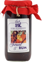 Jamaican Rum & Fruits Creation - Glass with Jamaican rum and fresh plum fruits. The content has 400 gramm, and 215 gramm are fruits - the rest is perfect, Jamaican rum. The volume of the rum glass is 16 % and it is perfect with crepe...
