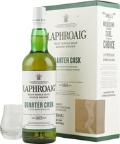 Laphroaig Quarter Cask with nosing glass - Laphroaig Quarter Cask with 700 ml. and 48 % volume.   This Expression has enjoyed a second maturation in small quarter casks. Laphroaig Quarter Cask is barrier filtered only and bottled at a higher s...