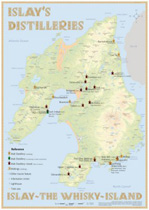 Map of all the Islay Distilleries in postersize 60 x 42cm - Map of Distilleries on Islay in Postersize (60x42cm)  For every homebar, partyceller, etc.  This map shows all the Islay Distilleries be it active or inactive. It supplies the viewer with additional i...