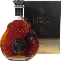 Polignac XO Royal in the noble Decanter - Polignac XO Royal Cognac with 40% Vol. and 0,7l  Up to 50 years the distillates mature in the cellars of Polignac.   The cellarmaster creates a great composition of enormous balance and a full aromasc...