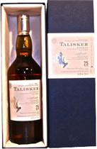Talisker 25 years Original 2008 - Talisker 25 Yrs 2004 original with 70 cl. and 54,2 % volume.   A Rolls Royce of a whisky. Has great depth, peat-smoke and spicy pepper. A whisky to die for.  Tasting notes of the Talisker 25 years:  N...