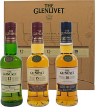 The Glenlivet Giftpack 3 x 200 ml. - Glenlivet Giftpack Exclusive with 3 bottles each contain 200 ml:  Glenlivet 12 years 40% Vol. Glenlivet 15 years 40% Vol. Glenlivet 18 years 43% Vol.  Glenlivet explain the brands on the reverse side ...