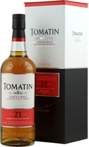 Tomatin Whisky 21 years - Tomatin 21 years with 700 ml. and 52 % volume.   The Tomatin 21 years is a cask-strength 21 years from Tomatin, a distillery which has really benefited from a bit of brand investment recently, with a ...