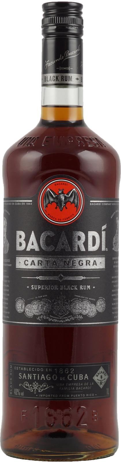 Bacardi Carta Negra - Guter Dark Rum als 1-Liter-Flasche von Bacardi