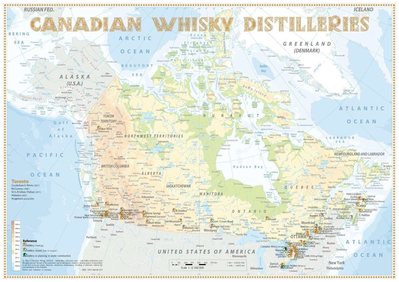 Karte Der Destillerien Kanada In Postergrosse 42 X 60cm
