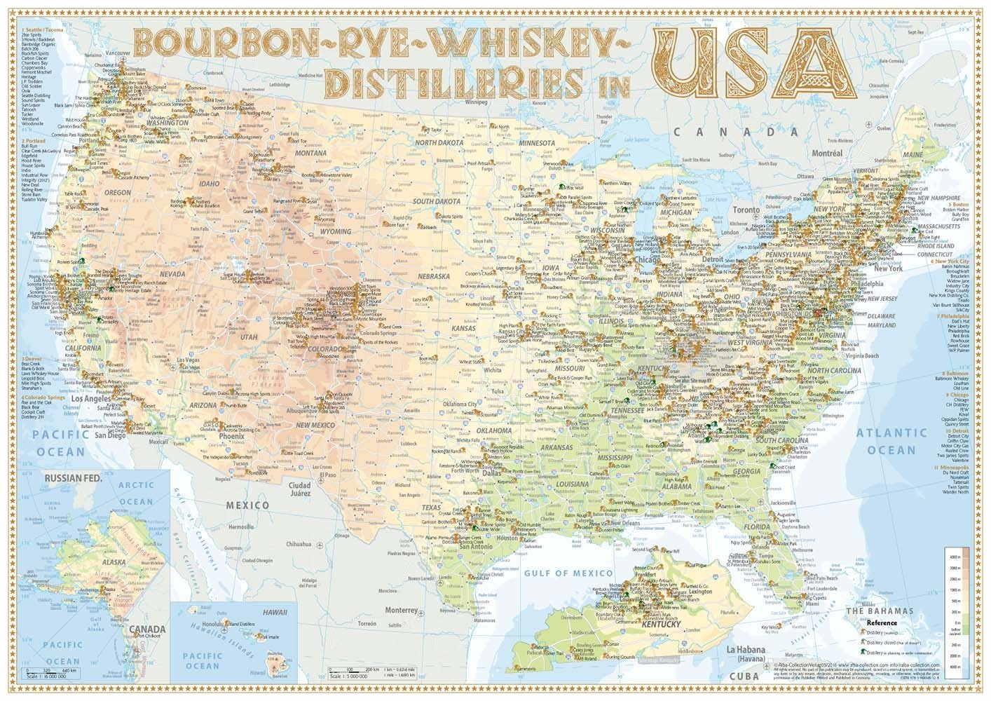 Karte Usa.Karte Der Destillerien Usa In Postergrosse 42 X 60cm