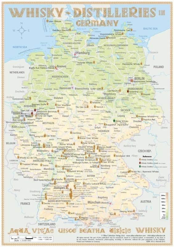 Schottland Karte Whisky.Karte Der Destillerien In Deutschland Auf Postergröße 60 X 42cm