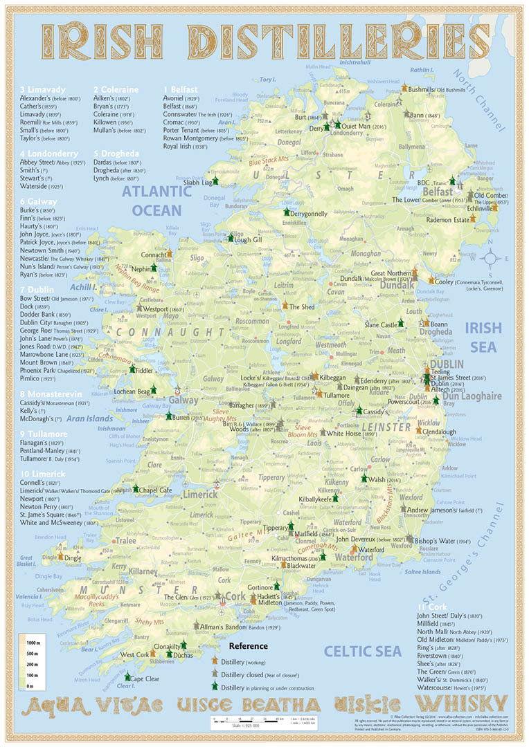 Irland Karte.Karte Der Destillerien In Irland Auf Postergrosse 60 X 42cm