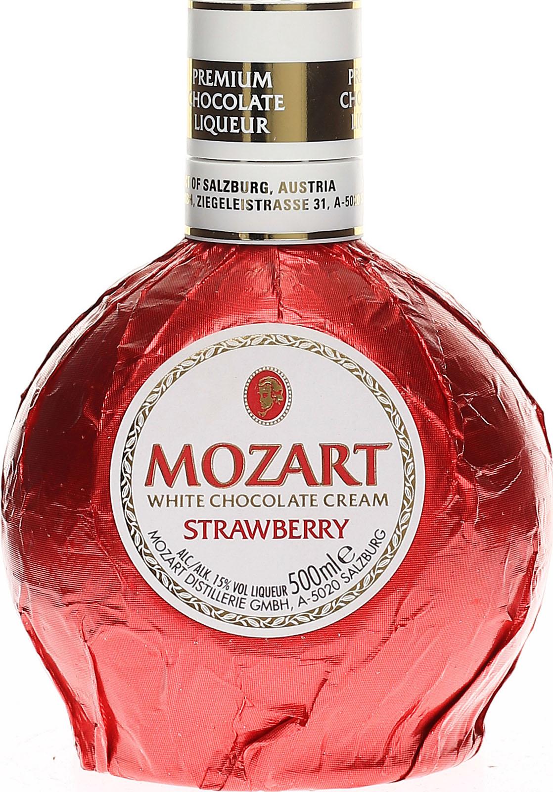 Mozart White Chocolate Strawberry Cream, fruchtig-frischer  Erdbeer-Schokoladenlikör aus der bekannten Mozart Distillerie...